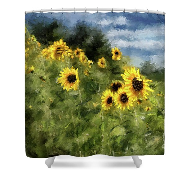 Sunflowers Bowing And Waving Shower Curtain
