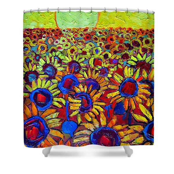 Sunflowers Field At Sunrise Shower Curtain