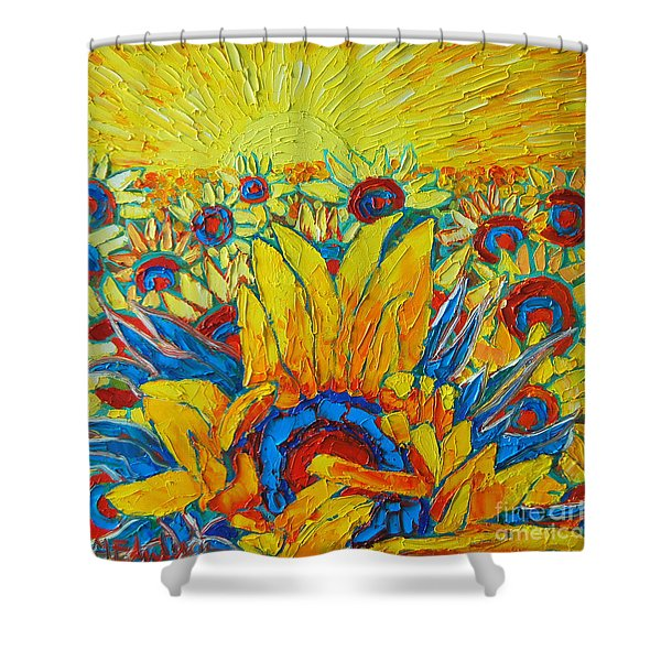 Sunflowers Field In Sunrise Light Shower Curtain