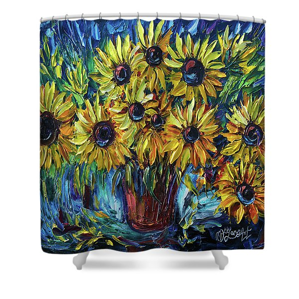 Sunflowers In A Vase Palette Knife Painting Shower Curtain