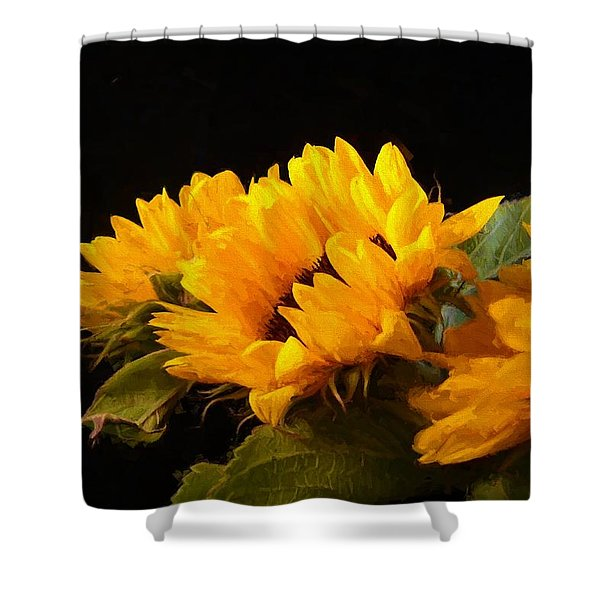 Sunflowers On A Black Background Shower Curtain