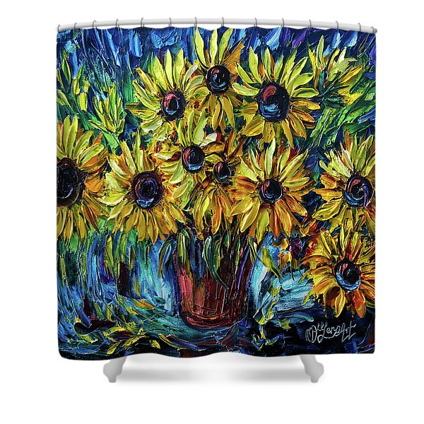 Sunflowers  Palette Knife Shower Curtain