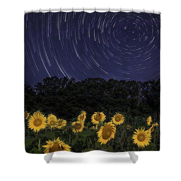 Sunflowers Under The Night Sky Shower Curtain