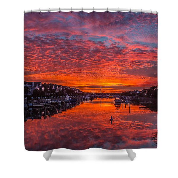 Sunlit Sky Over Morgan Creek -  Wild Dunes On The Isle Of Palms Shower Curtain