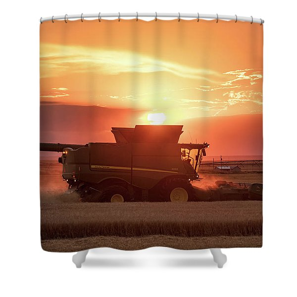 Red Harvest Sun Shower Curtain