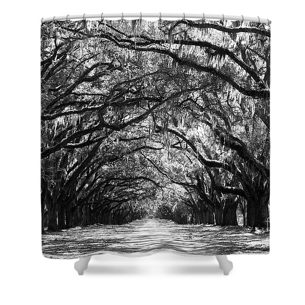 Sunny Southern Day - Black And White Shower Curtain