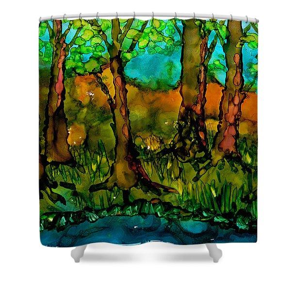 Sunny Trees Shower Curtain