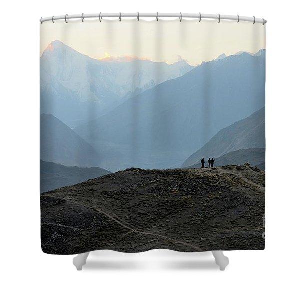 Sunrise Among The Karakoram Mountains In Hunza Valley Pakistan Shower Curtain