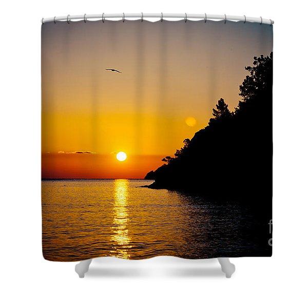 Sunrise And Seascape Orange Color Shower Curtain