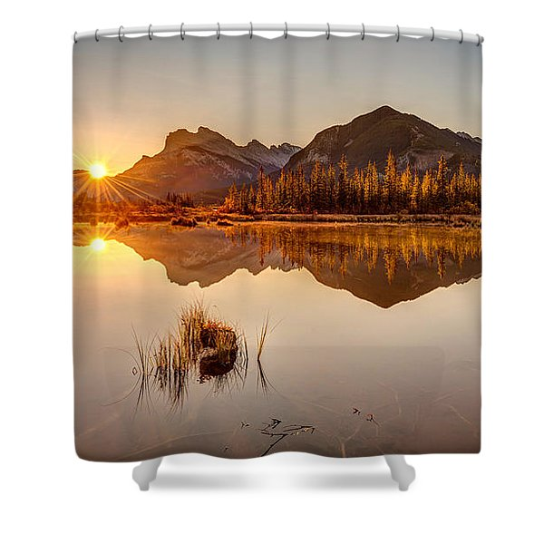 Sunrise At Banff's Vermilion Lakes  Shower Curtain