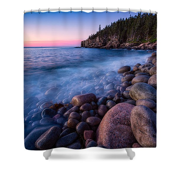 Shower Curtain featuring the photograph Sunrise At Boulder Beach Acadia Np by Jeff Sinon