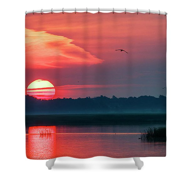 Shower Curtain featuring the photograph Sunrise At Cheyenne Bottoms 03 by Rob Graham