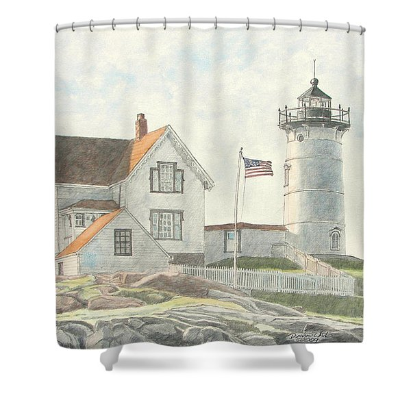 Shower Curtain featuring the painting Sunrise At Nubble Light by Dominic White