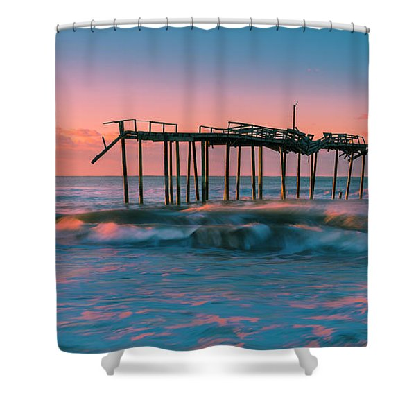 Shower Curtain featuring the photograph Sunrise At Outer Banks Fishing Pier In North Carolina Panorama by Ranjay Mitra