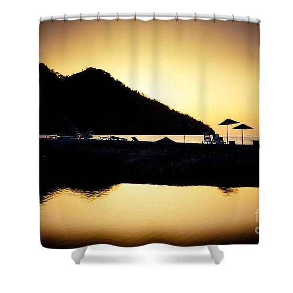 Sunrise At Sea Coast Brown Shower Curtain