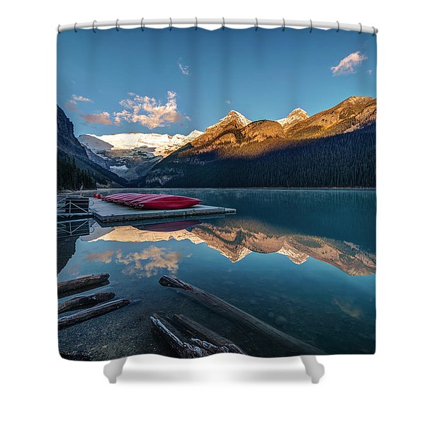 Sunrise At The Canoe Shack Of Lake Louise Shower Curtain