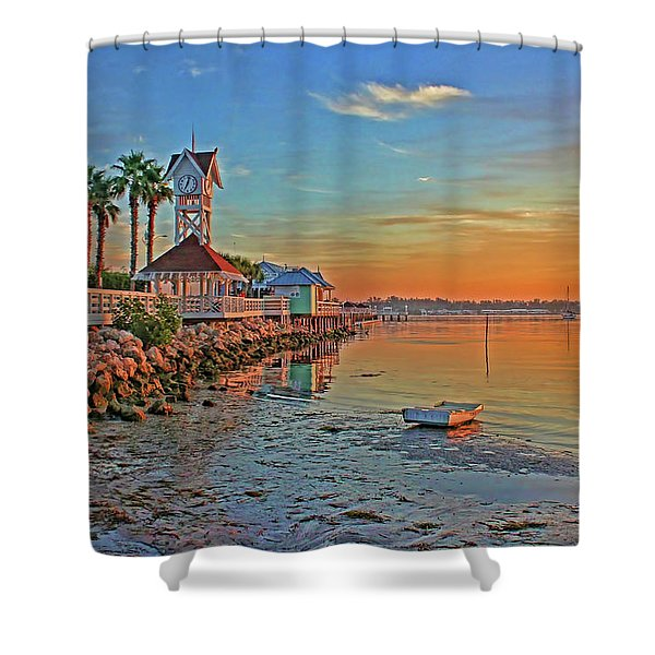 Sunrise At The Pier Shower Curtain