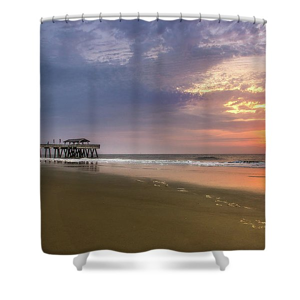 Sunrise At Tybee Island Pier Shower Curtain