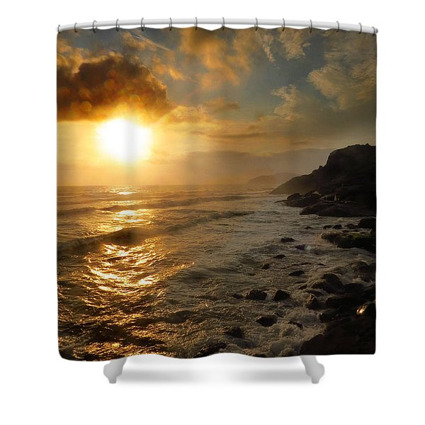 Sunrise By The Rocks Shower Curtain