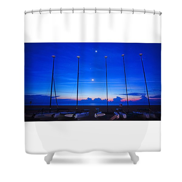 Sunrise Catamarans Moon Planets Shower Curtain