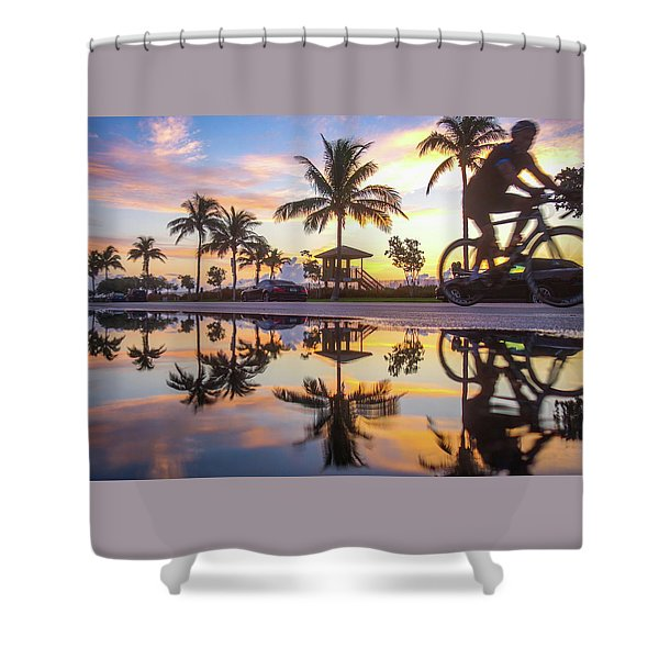 Sunrise Cyclist Delray Beach Florida Shower Curtain