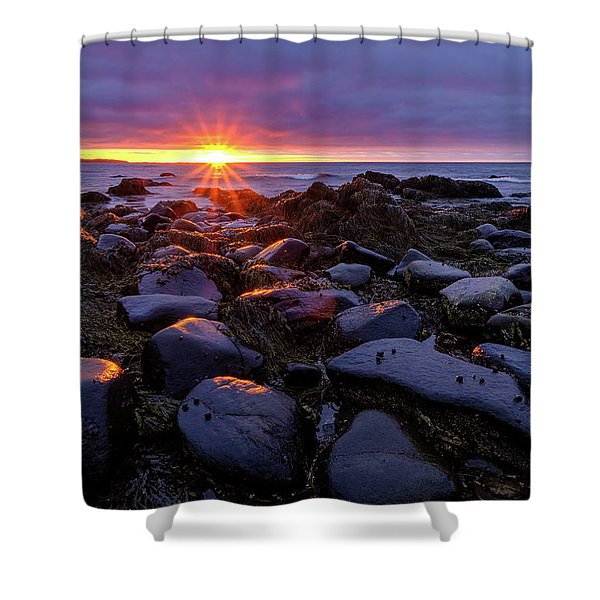 Shower Curtain featuring the photograph Sunrise Fire On The New Hampshire Coast.  by Jeff Sinon