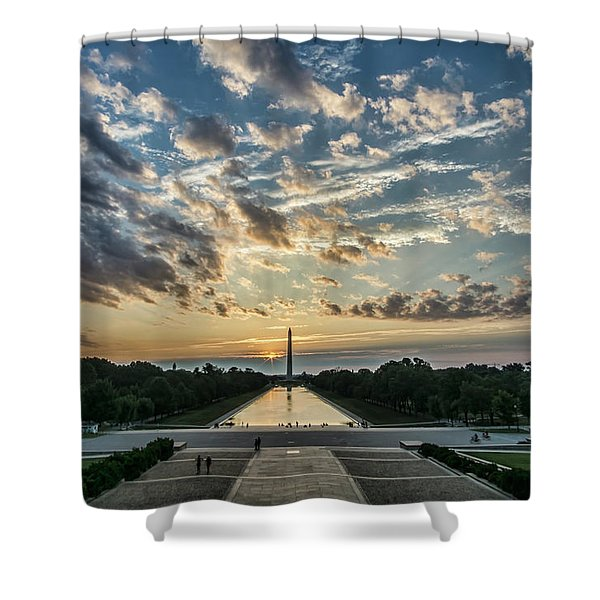Sunrise From The Steps Of The Lincoln Memorial In Washington, Dc  Shower Curtain