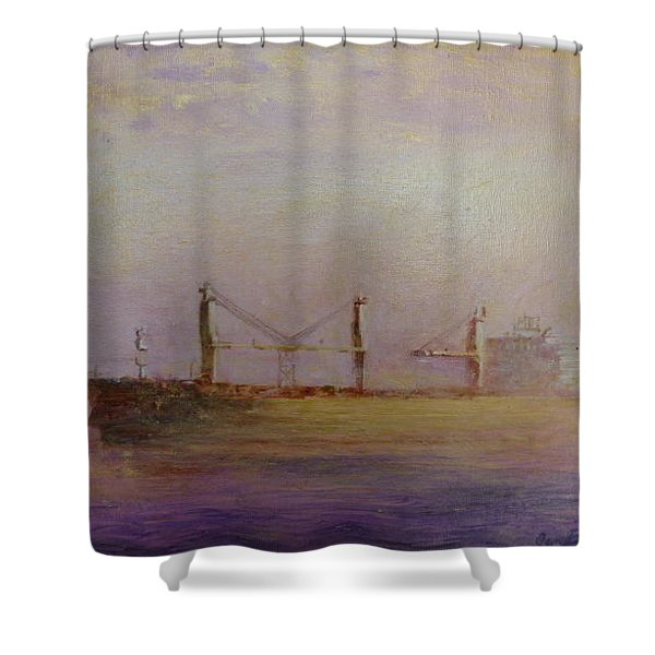 Shower Curtain featuring the painting Sunrise Gold by Jan Byington