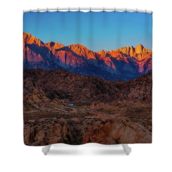 Sunrise Illuminating The Sierra Shower Curtain