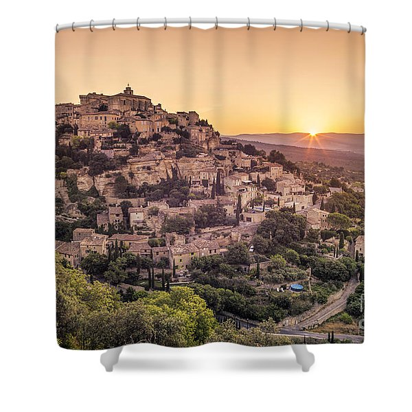 Shower Curtain featuring the photograph Sunrise In Gordes Provence  by Juergen Held