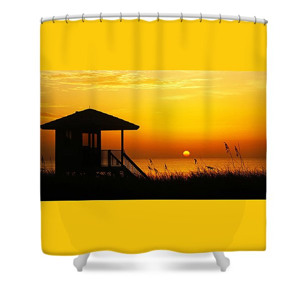Sunrise Lifeguard Station Shower Curtain