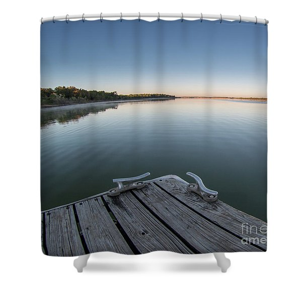 Sunrise On A Clear Morning Over Large Lake With Fog On Top, From Shower Curtain
