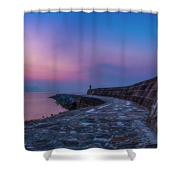 Sunrise On The Cobb, Lyme Regis, Dorset, Uk. Shower Curtain
