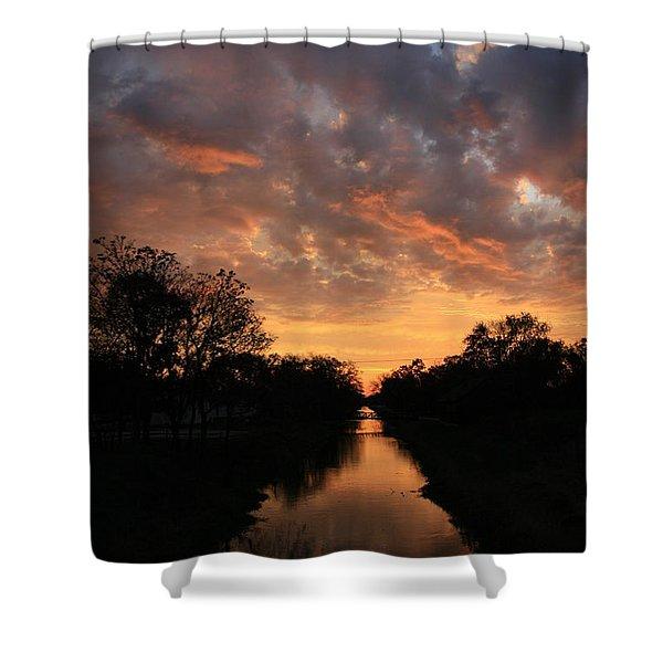 Sunrise On The Illinois Michigan Canal Shower Curtain