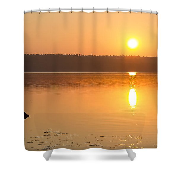Sunrise On The Rocks Of Branch Lake - Maine Shower Curtain