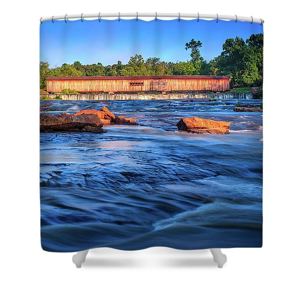 Sunrise On Watson Mill Bridge Shower Curtain