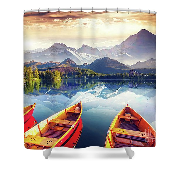 Sunrise Over Australian Lake Shower Curtain