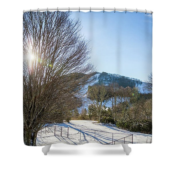 Shower Curtain featuring the photograph Sunrise Over Cataloochee Ski by D K Wall