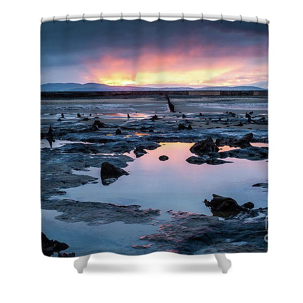 Sunrise Over The Bronze Age Sunken Forest At Borth On The West Wales Coast Uk Shower Curtain