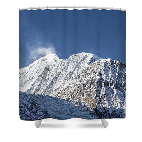 Sunrise Over The Gangapurna Peak At 7545m In The Himalayas In Ne Shower Curtain