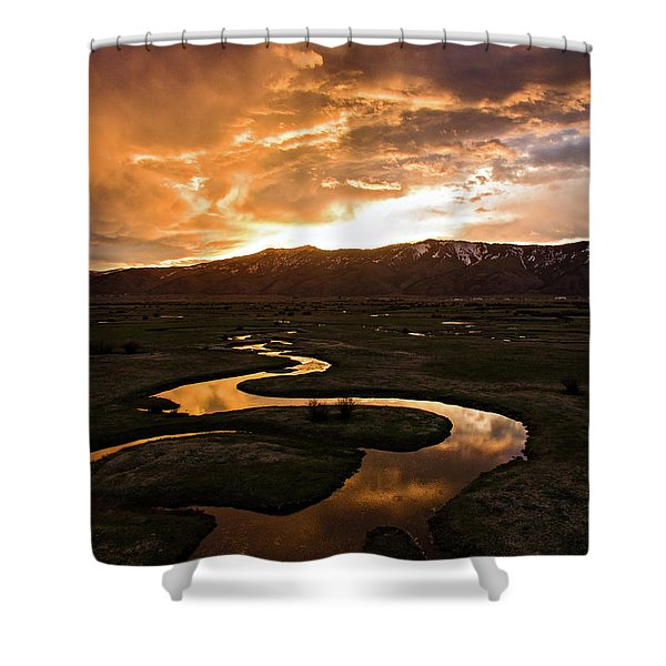 Sunrise Over Winding River Shower Curtain