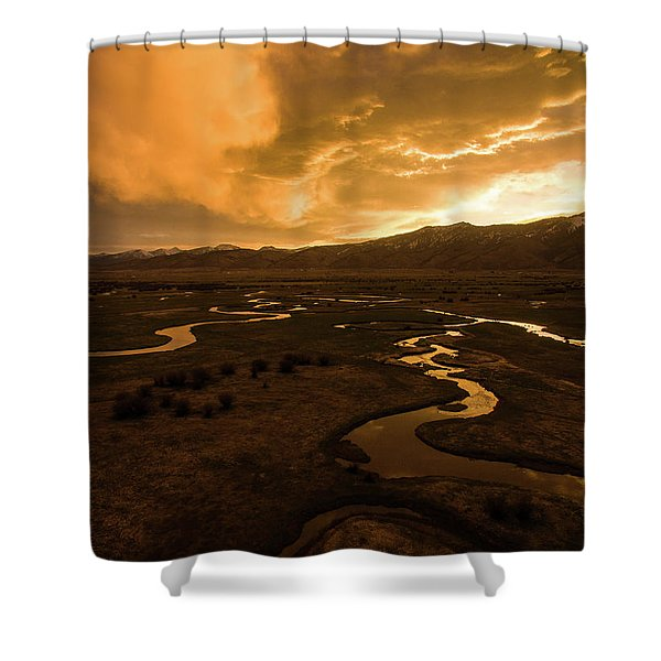 Sunrise Over Winding Rivers Shower Curtain