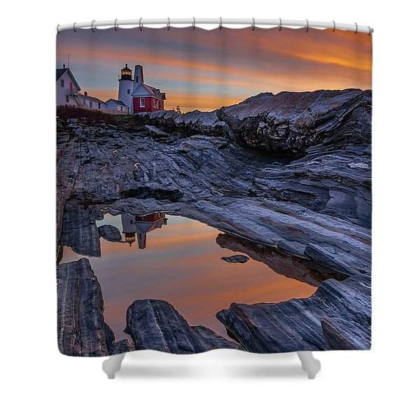 Sunrise Reflections At Pemaquid Point Shower Curtain