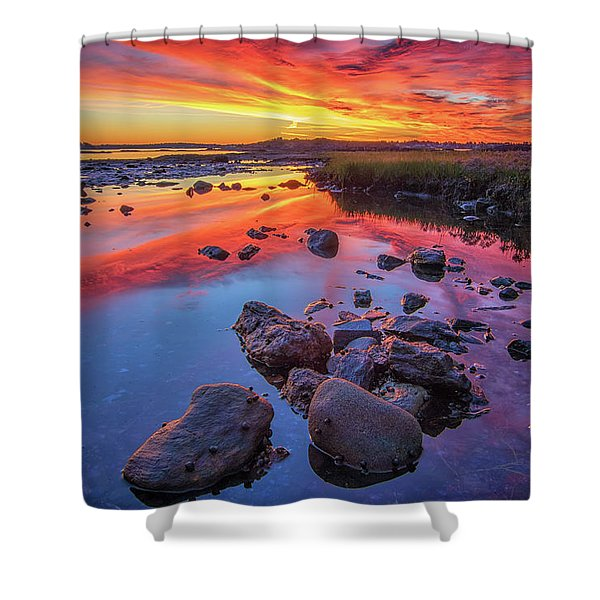 Sunrise Reflections In Harpswell Shower Curtain