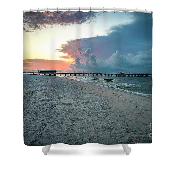 Sunrise Seascape Gulf Shores Al Pier 064a Shower Curtain