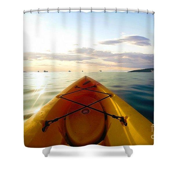 Sunrise Seascape Kayak Adventure Shower Curtain