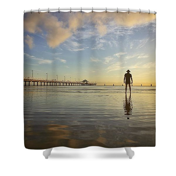 Sunrise Silhouette Down By The Pier. Shower Curtain