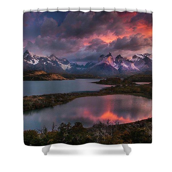 Sunrise Spectacular At Torres Del Paine. Shower Curtain