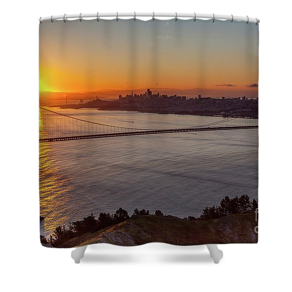 Sunrise Sunlight Hitting The Coastal Rock On The Shore Of The Go Shower Curtain