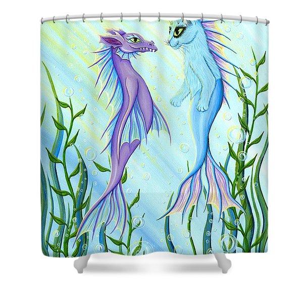 Sunrise Swim - Sea Dragon Mermaid Cat Shower Curtain
